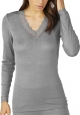 Mey Silk Touch Wool 66003 Top langarm mid grey melange